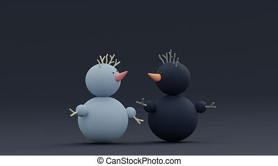 Two different cute pastel black and blue Snowmans talking. Relationship and friendship concept. Happy Valentines Day concept. New year and Christmas greeting card on dark background. 3D rendering.