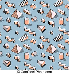 Trendy Abstract Memphis Seamless Pattern with 3d Geometric Shapes. Fashion Background for Textile, Print, Cover, Poster. Vector illustration