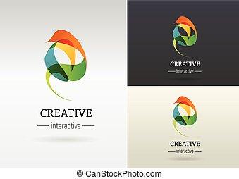 trendy, abstratos, vibrante, e, coloridos, ícone, elemento