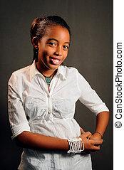 trendy, africano, adolescente