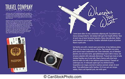 Trendy Air Travel Banner Or Advertisement Poster With Camera Passport Airline Ticket And Top View