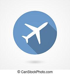 Trendy airplane icon