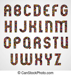 Trendy alphabet letters design decorated with beautiful colorful