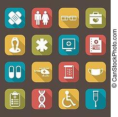 trendy, apartamento, médico, jogo, ícones