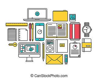 trendy, articoli, stile di vita, ogni giorno, icone