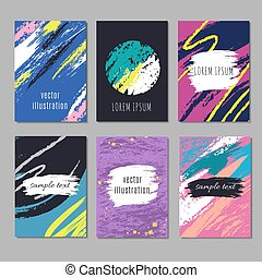 Trendy artistic modern vector posters with sketch hand drawing stroke textures. Creative fashion cards