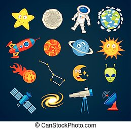 Trendy astronomy icons. Vector illustration. Funny cartoon...