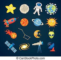 Trendy astronomy icons. Vector illustration. Funny cartoon character. Set