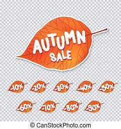 Trendy autumn leaf sale tag. Vector illustration.