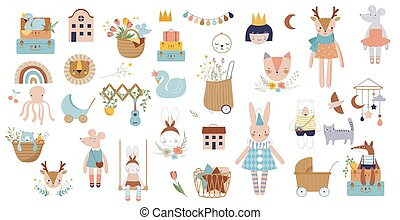 Trendy baby and children icons, stickers, tattoos. Vintage ...