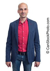 trendy bald man in red shirt and blue jacket