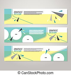 trendy banner template design with triangle elements in blue...
