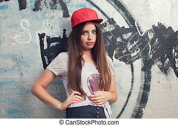 trendy beautiful long haired yuong model with big lips...