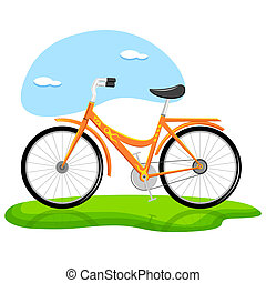 illustration of trendy bicycle standing on grass