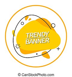 Trendy bright abstract banner yellow color.