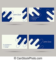 Trendy business card template. Flat design. minimalism. blue