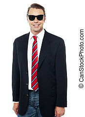 Trendy business consultant wearing sunglasses
