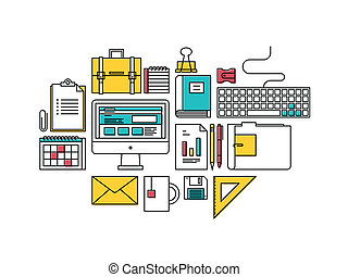 Trendy business development items icons