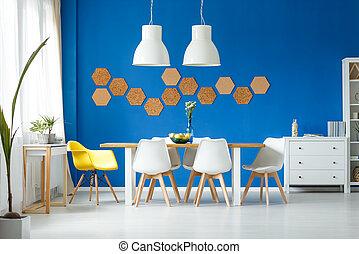 trendy, cadeira, sala, amarela