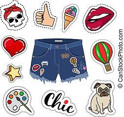 trendy, calças brim, shorts