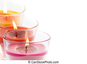 trendy candles isolated on a white background