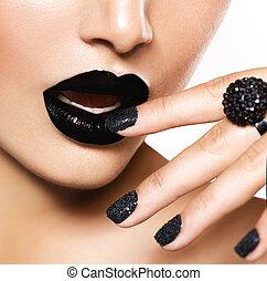 trendy, caviar preto, manicure, e, pretas, lips., moda, maquilagem