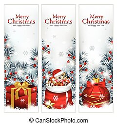 Vector illustration of three elegant Christmas banners, with gift box, Santa's sack and Christmas ornament surrounded with trees branches.