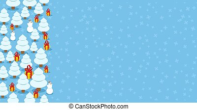 Trendy Christmas design background. Xmas winter card Place for text. Christmas tree and gift. Snowman pastel color. New Year design concept vector illustration.