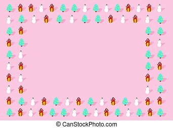 Trendy Christmas pink design background. Xmas winter card Place for text. Christmas tree and gift. Snowman pastel color. New Year design concept vector illustration.