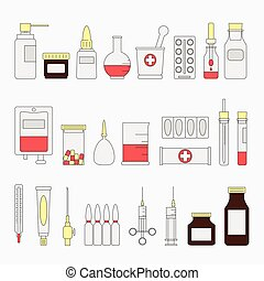 Trendy color flat medical and health care icon set. Medicine signs and symbols. Vector illustration. Equipment. Design elements collection. ?artoon style. Simple. Pharmacy. Pill. Hospital. Treatment.