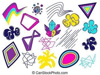 Trendy colorful set of objects for design. Abstract modern color elements in graffiti style