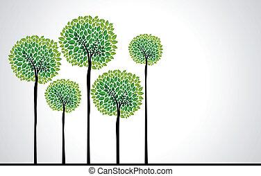 trendy, conceito, árvores, vetorial