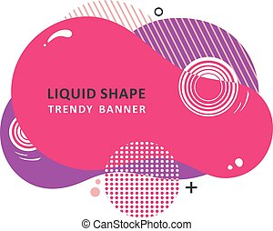Trendy concept. Mosaic amoeba design. Abstract colorful waves. Modern vector memphis liquid shape.