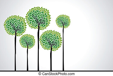 Trendy concept trees vector - Cute green tree forest design...