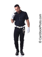 Trendy cop posing at camera, isolated on white