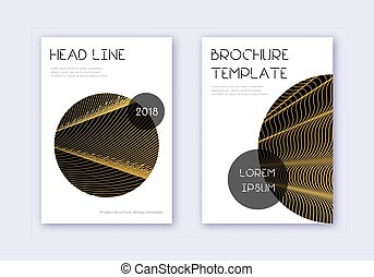 Trendy cover design template set. Gold abstract lines on ...