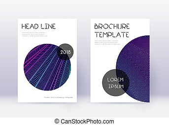 Trendy cover design template set. Neon abstract lines on ...