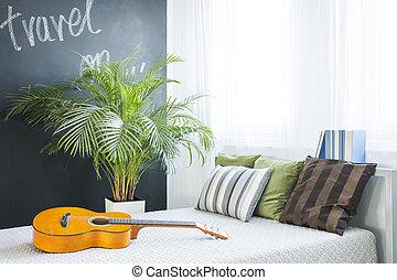 Trendy decor of bedroom