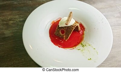 trendy decorated ukrainian borscht with brown bread and sour...