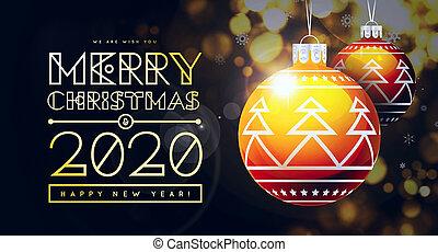 trendy, desenho, bolas, novo, parabéns, dourado, experiência., 2020, natal, ano
