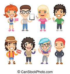 Trendy Dressed Cartoon Characters. Isolated on white background. Clipping paths included in additional jpg format.