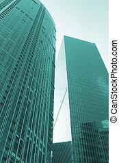 trendy, e, edifício moderno, arquitetura