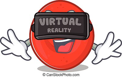 Trendy erythrocyte cell character wearing Virtual reality ...