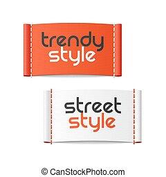trendy, estilo, rua, etiquetas