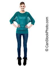 Trendy fashion teen posing