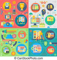 Trendy flat design SEO technology vector set of web icons. User web search experience, website ranking and marketing square concepts set.