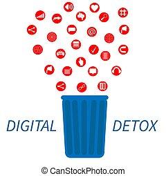 Trendy flat information icons going into a garbage basket. Concept illustration of digital hygiene, input overload and digital detox.
