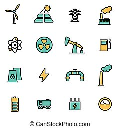 Trendy flat line icon pack for designers and developers. Vector line energetics set