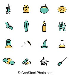 Trendy flat line icon pack for designers and developers. Vector line halloween set