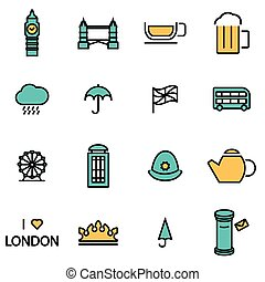 Vector line london icon set - Trendy flat line icon pack for...